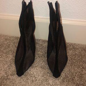 Never worn black mesh booties